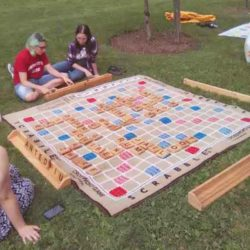 Playing Giant Scrabble Outdoors
