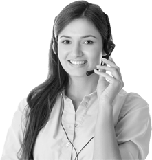 Girl with Headset in footer