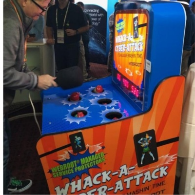 Side view of custom branded whack a mole arcade game