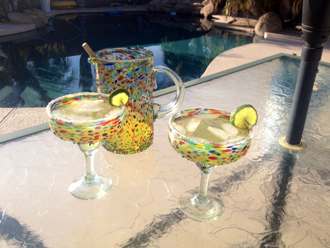 Bambeco recycled glassware margarita set