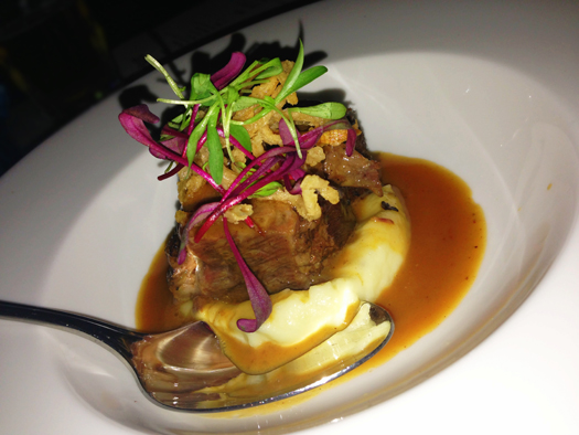 "Short Rib ""Cali-belgique"" with horseradish and fried onions"