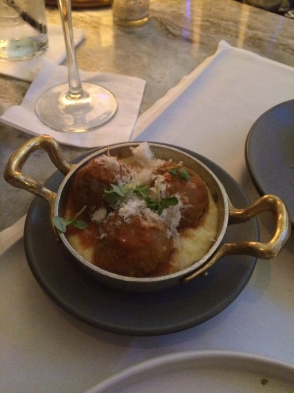 Fat Ox Happy Hour Veal Meatballs with Creamy Polenta