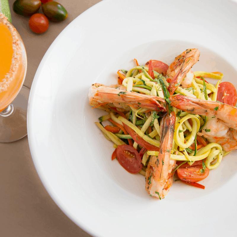 Sierra Bonita Grill vegetable noodles and shrimp