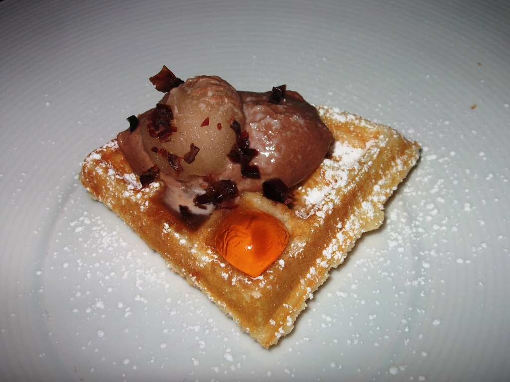 Belgian Waffle with Maple Bacon Sorbet