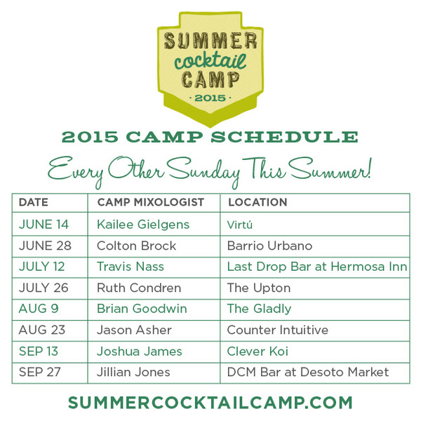 Summer Cocktail Camp Schedule