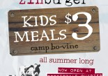 Zinburger Summer Kids Menu