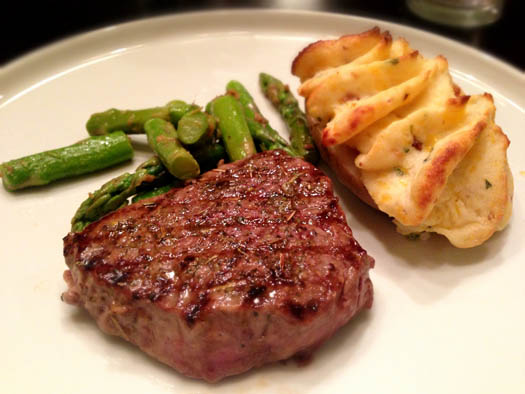 Omaha Steaks 5oz. Top Sirloin with their fluffy Stuffed Baked Potato on the side.