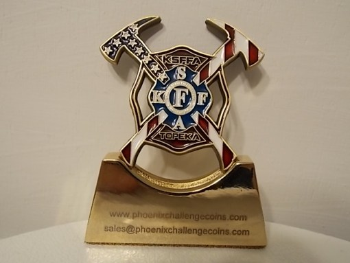 Kansas State Firefighters Association 125th anniversary shaped coin back