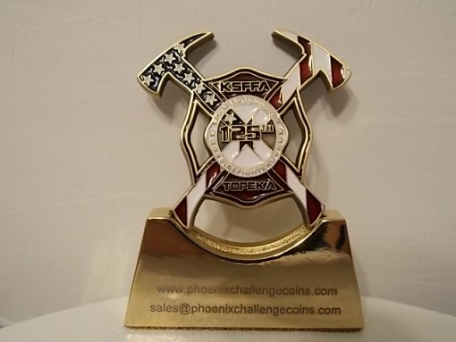 Kansas State Firefighters Association 125th anniversary shaped coin