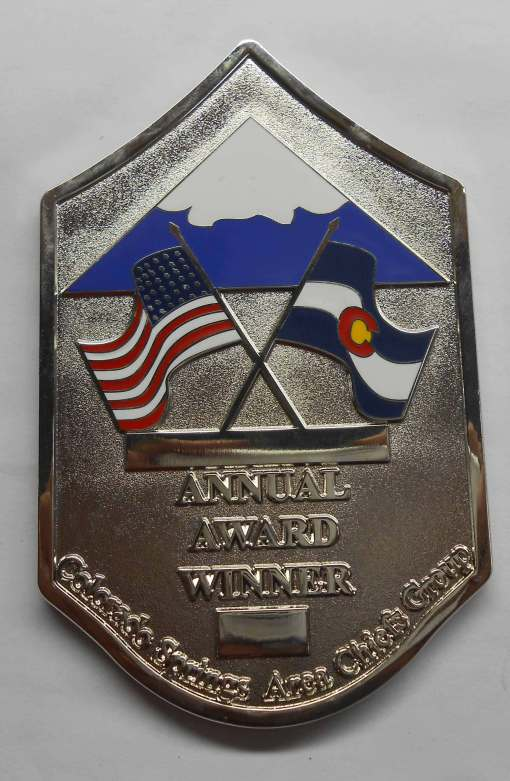 Colorado Springs Area Chiefs Group Chevron Shaped coin by Phoenix Challenge Coins
