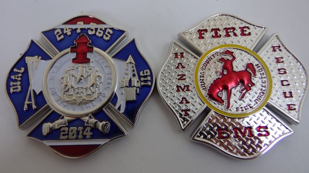 Uinta County Fire WY Diamond plate Shaped Custom Fire Coin by Phoenix Challenge Coins