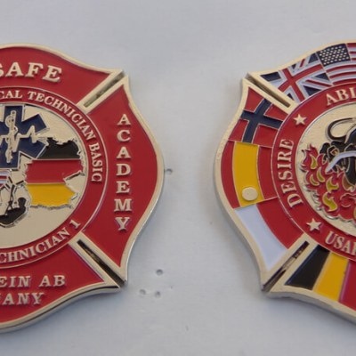 USAFE Ramstein Fire Academy Prime Beef challenge coin by Phoenix Challenge Coins