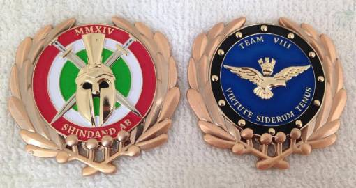 Italian Air force TEAM 8 and AFSOC advisors OEF Deployment coin Shindand AB custom unit coin by Phoenix Challenge Coins