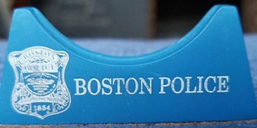 """2"""" Phoenix Challenge Coin Armor™ Boston Police Personalized Single Challenge Coin vertical display stand"""