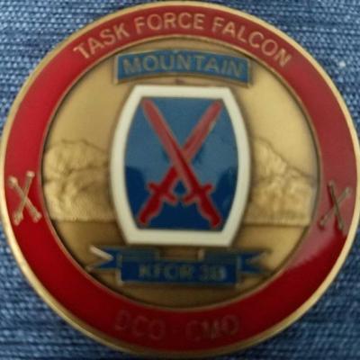 Rare KFOR 3B 10th Mountain TF Falcon DCO-CMO Commanders Coin