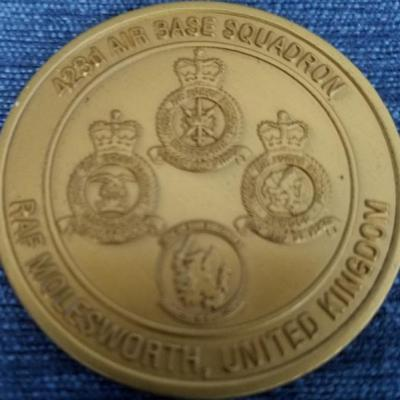UK 423rd Airbase Squadron Royal Air Force Molesworth Challenge Coin back