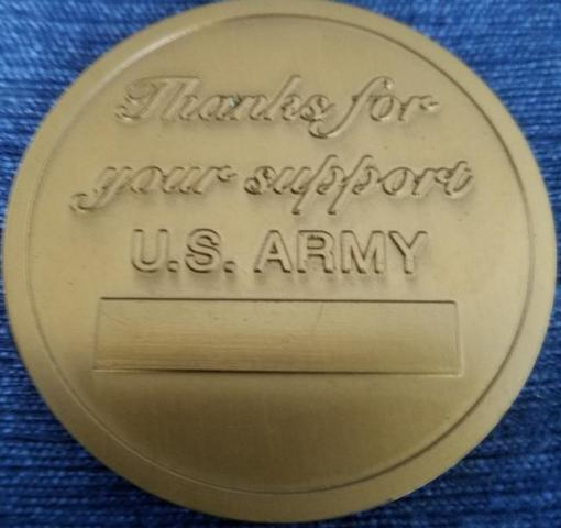 Secretary of the Army Presentation Coin Unnamed back