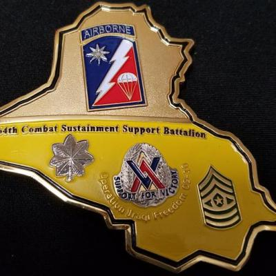 264th Combat Support Sustainment Battallion OIF Commanders Award for excellence in combat Iraq Country Shaped Challenge Coin back