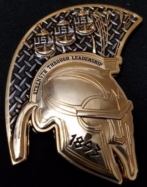 USS Alexandria Spartan Helmet Navy Chief Shaped Challenge Coin back