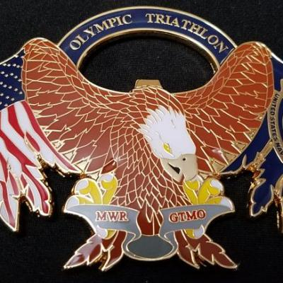 US Navy Det JTF-GTMO Guantanamo Bay Olympic Triathlon Bottle Opener Challenge Coin