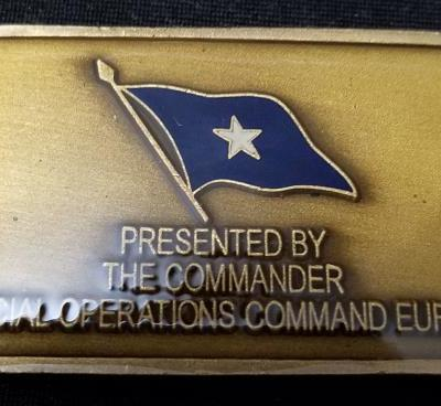 Commander in Chief Special Operations Command Europe CINCSOCEUR Dogtag Shaped Challenge Coin back