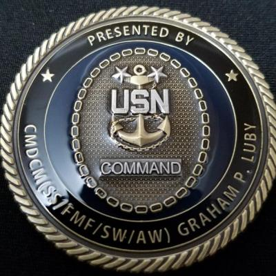 US Naval Hospital Camp Lejeune Command Master Chief Graham Luby Challenge Coin back