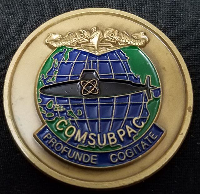 US Navy Commander Submarine Forces Pacific Fleet COMSUBPACFLT RADM John Paggett Profunde Cogitate Commanders Challenge Coin