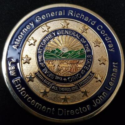 Ohio Attorney Generals Office Bureau of Criminal Investigation Richard Corday Director of Law Enforcement John Lennert Challenge Coin by Phoenix Challenge Coins