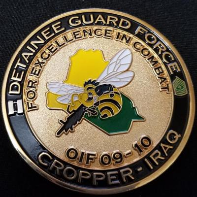 US Army MP Detainee Guard Force FOB Cropper Baker Company Commanders coin presented for excellence in Combat OIF 09-10 Challenge Coin by Phoenix Challenge Coins
