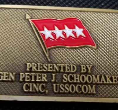 CINC USSOCOM Commander In Chief US Special Operations Command General Peter Schoomaker Dogtag Shaped Challenge Coin back