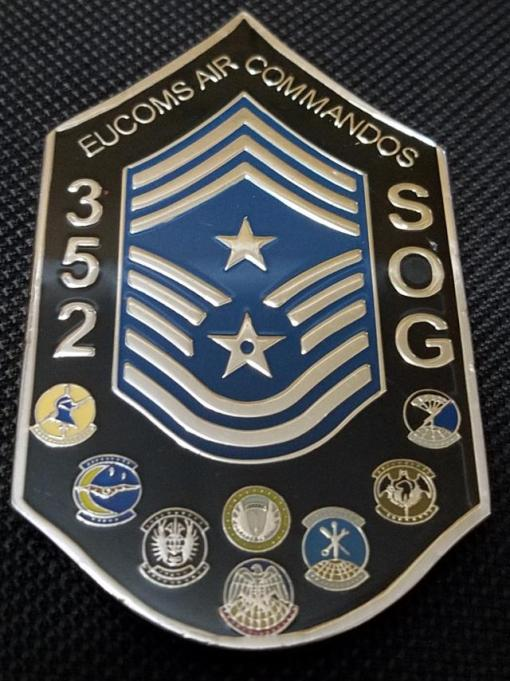 Rare 352d Special Operations Group Command Chief Master Sergeant Chevron Shaped Challenge Coin back