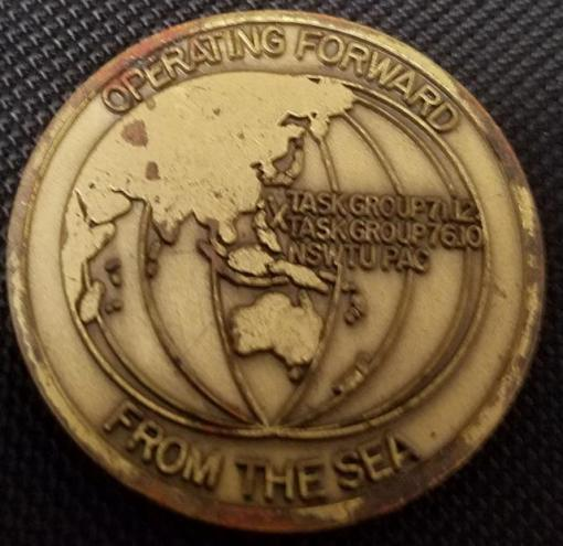 Rare US Naval Special Warfare Unit 1 SEAL Team SDVT Naval Special Warfare Task Unit Pacific Forward NSWTUPAC Challenge Coin back
