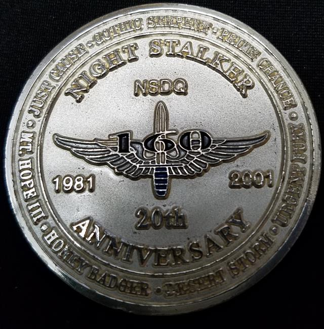 ARSOAC 160th Special Operations Aviation Regiment 160TH SOAR(A) Night stalkers 20th Anniversary Challenge Coin