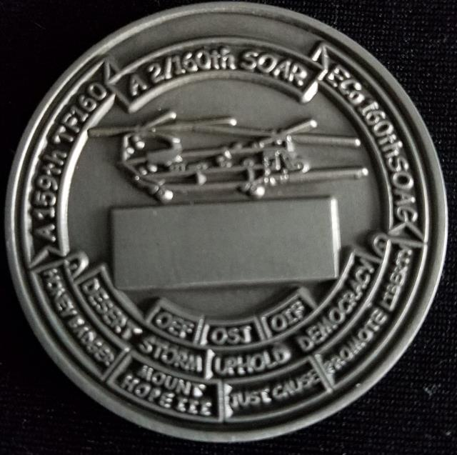ARSOAC 160th Special Operations Aviation Regiment 160TH SOAR(A) A/2 A company 2nd Battallion CRAZYHORSE SPIRIT OF THE WARRIOR Night stalkers V2 Challenge Coin back