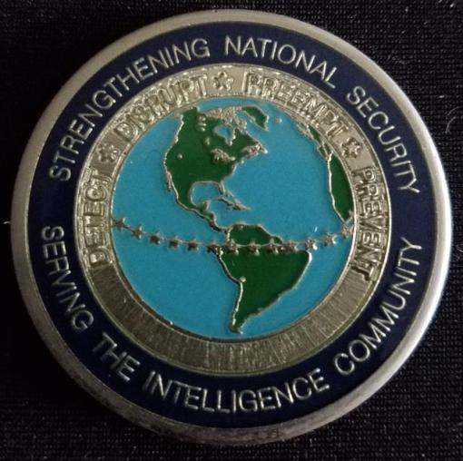 Rare US Intelligence Community National Counter Terrorism Center NCTC challenge coin back