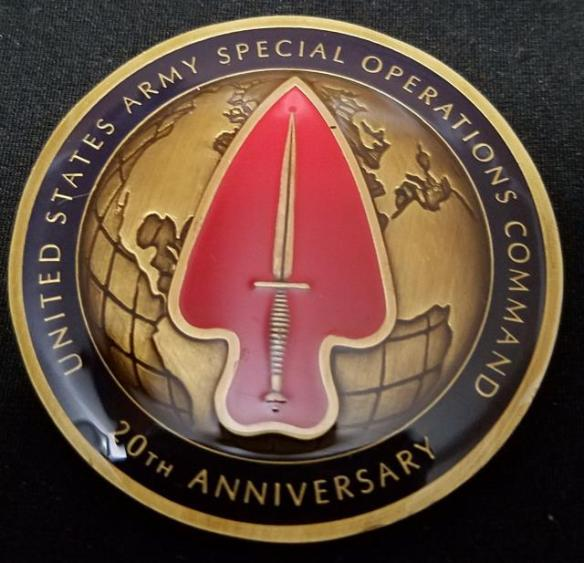 US Army Special Operations Command USASOC 20th Anniversary challenge coin