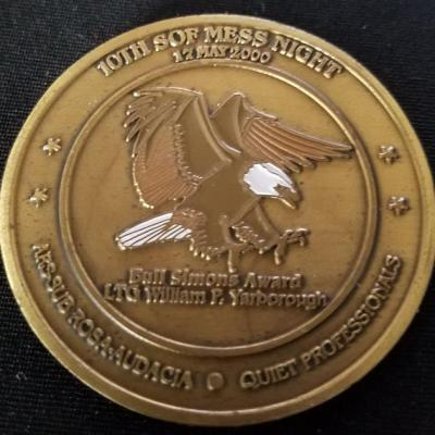 CINC USSOCOM Commander In Chief US Special Operations Command General Peter Schoomaker 10th SOF Mess night SOF Week 2000 Challenge Coin