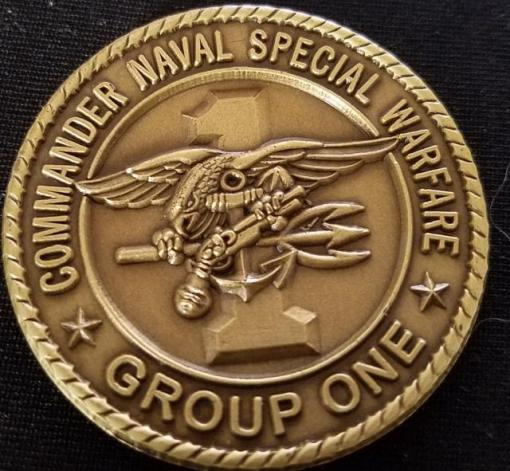 US Naval Special Warfare Group 1 NSWG-1 Navy Seal Commanders challenge coin back