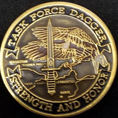 Original Task Force Dagger TF-Dagger K2 Kashi Kanabad Uzbekistan Stronghold Freedom Deployment 2001 numbered #1207 Challenge Coin V2