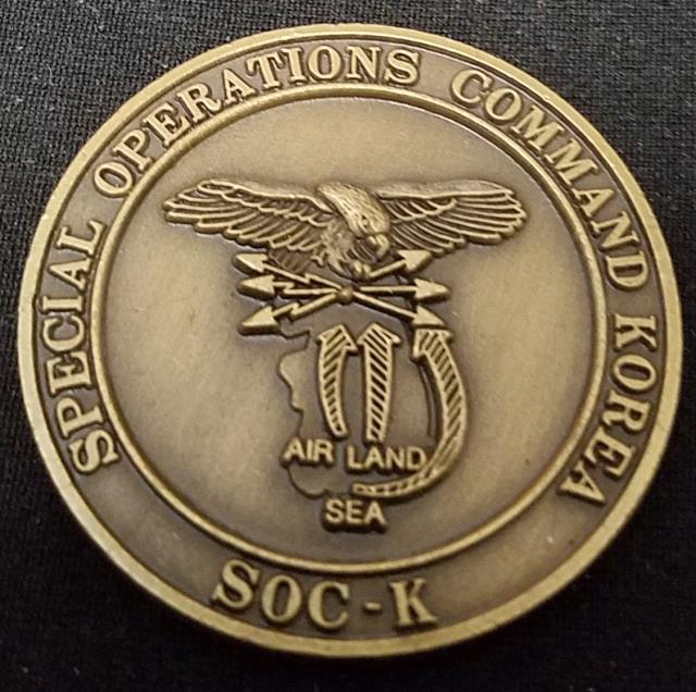 US Special Operations Command Korea SOCKOR SOC-K 1986 challenge coin