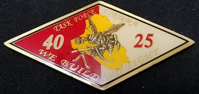 Rare CJSOTF-AP Det 1 TF Sierra NMCB 25/40 Diamond Shaped Deployment Challenge Coin back