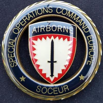 US Special Operations Command Europe Deputy Commanders DCINCSOCEUR Admiral Tom Brown round cut out Challenge Coin
