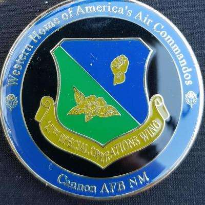 AFSOC 27th SOW Air Force Special Operations Command 27th Special Operations Wing Cannon AFB Commanders Challenge Coin