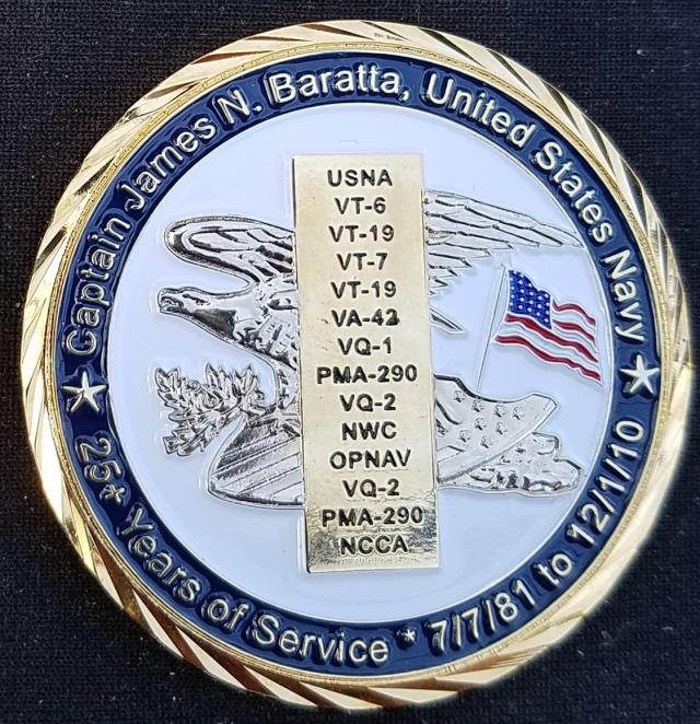 Captain James Baratta USN Retirement Custom Navy Coin By Phoenix Challenge Coins