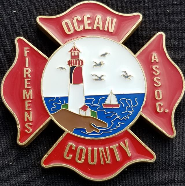2013 Ocean County NJ Fireman's Assn shaped LODD Memorial fire coin by Phoenix Challenge Coins
