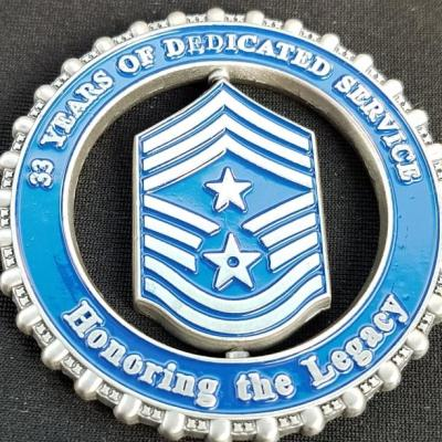 USAF Command Chief Master Sargeant Scharlau Spinner coin with custom 3D edge by Phoenix Challenge Coins