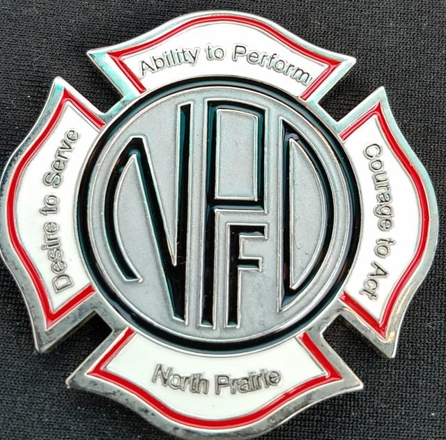North Prairie Fire Rescue Maltese Cross Shaped Fire Coin from Phoenix Challenge Coins back