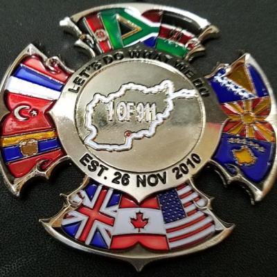 "FOB Spin Boldak FD Custom 3.25"" Maltese cross Shaped Fire Coin by Phoenix Challenge Coins"