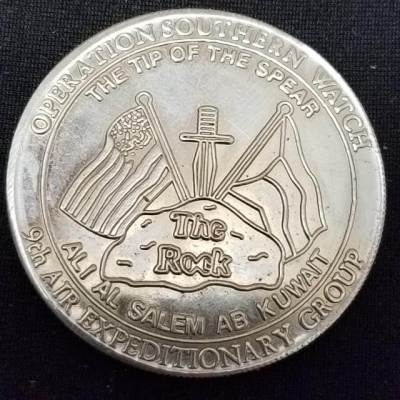 USAF 9th AEG Air Expeditionary Group Operation Southern Watch 'The Rock' Challenge Coin back