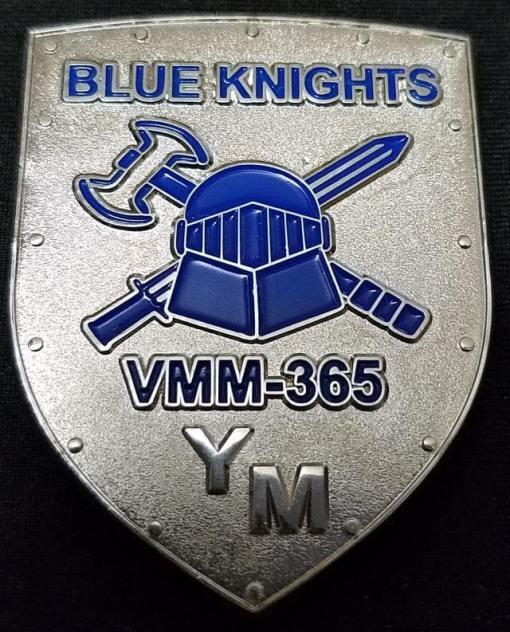 USMC VMM-365 Blue Knights Commander's Shield Shaped Challenge Coin